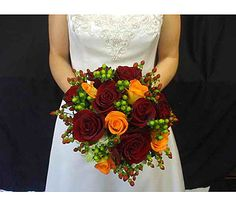 Beautiful Brides Bouquet  Red and Orange Roses with Hypircum Berries burgandy and green