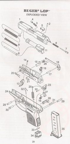 Ruger LCP Exploded Parts Diagram:Loading that magazine is a pain! Get your Magazine speedloader today! http://www.amazon.com/shops/raeind