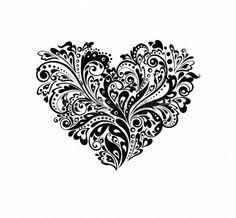 Decorative heart shape  black and white