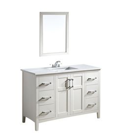 """$1,200 View the Simpli Home NL-WINSTON-WH-48-2A Winston 48"""" Bathroom Vanity Cabinet - Includes Countertop and One Sink at Build.com."""