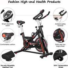 """""""Features & Overview"""" VIGBODY Stationary Bike Exercise Bike Belt Drive Indoor Cycling Bike for Home Cardio Workout Bike Heavy Duty Flywheel Bicycles #BikeExerciseNewReleases #VIGBODYStationaryBikeExercise #BikeExercise #VIGBODY #StationaryBikeExercise Indoor Cycling Bike, Cycling Bikes, Cardio Workout At Home, At Home Workouts, Workout Machines, Exercise Machine, Recumbent Bike Workout, Belt Drive, Foot Pads"""