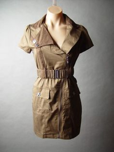 Brown Utility Vtg-y 40s Uniform Military Army Surplus Belt Belted Zipper Dress S