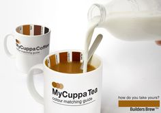 This mug has been created for tea & coffee lovers who crave the perfect cuppa every time they boil the kettle. Equipped with a colour matching guide on the inside to get your brew to just how you like it, from milky to builders brew and black.    www.suck.uk.com