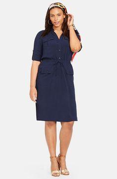 fe081bfd97 Lauren Ralph Lauren Drawstring Waist Shirtdress (Plus Size) available at   Nordstrom Drawstring Waist