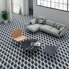 gemini tiles Cuban Black Block Tile - 223x223mm