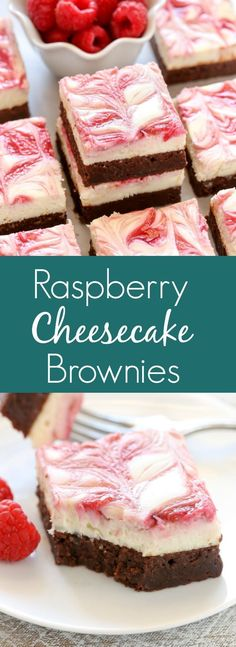 A fudgy brownie base topped with a smooth and creamy cheesecake layer and a raspberry swirl. These Raspberry Cheesecake Brownies make a beautiful dessert for any occasion! Raspberry Cheesecake Brownies Killi silicienna Yummy A fudgy brownie base to Brownie Desserts, Oreo Dessert, Mini Desserts, Valentine Desserts, Cheesecake Brownies, Fudgy Brownies, Brownie Recipes, Cheesecake Recipes, Chocolate Recipes