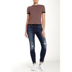 7 For All Mankind Gwenevere Knee Hole Skinny Jean ($90) ❤ liked on Polyvore