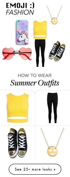 """A Emoji outfit"" by cutetori on Polyvore featuring Jane Basch, Boohoo, Converse and Sans Souci"