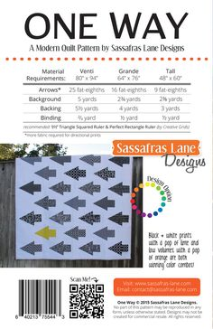"""One Way is the perfect quilt for gals and guys! There are so many options - make it scrappy or pick a color scheme and add a """"rogue"""" arrow for an extra pop! The pattern includes 3 different sizes:Venti (80"""" x 94""""), Grande (64"""" x 76"""") and Tall (48"""" x 60""""). We suggest using the Triangle Squared and Perfect Rectangle rulersto make this quilt. Find themhere!"""