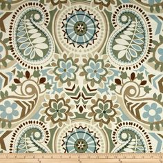 Waverly Paisley Prism Twill Latte from @fabricdotcom  Screen printed on cotton twill, this medium weight fabric is very versatile. This fabric is perfect for window treatments (draperies, valances, curtains, and swags), bed skirts, duvet covers, pillow shams, accent pillows, tote bags, aprons and upholstery. Colors include shades of teal and brown with sage on an ivory background.