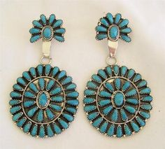 Fine Concho Style Navajo Larry Moses Begay Sterling Silver Turquoise Earrings   eBay