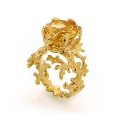 CORAL Citrine Engagement Ring Statement Ring Gold by AroshaTaglia, $360.00