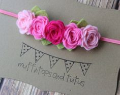 Purple felt flower headband by muffintopsandtutus on Etsy