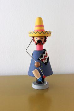 Vintage Räuchermännchen Weihnachten Holz Figur Mexikaner Original Erzgebirge Expertic 70er