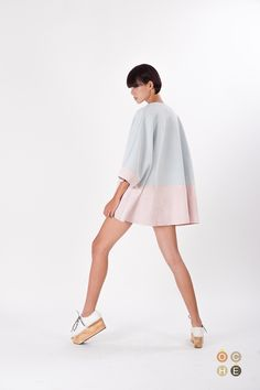 Contrasting blue and pink batwing jacket with laser cut detailing - OCHEBOUTIQUE