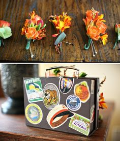 travel inspired wedding suitcase
