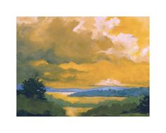 """""""Orange Lake"""" - Art Print by Stephanie Goos Johnson in beautiful frame options and a variety of sizes."""