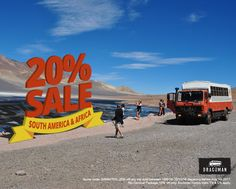 Our 20% South America and Africa SALE has begun. Visit the website to see all of the details. www.dragoman.com  #sale #dragoman #wanderlust #adventure #travel #3D #typography