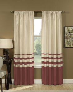 Salon Faux Silk Striped Curtain Panel / Curtainworks.com
