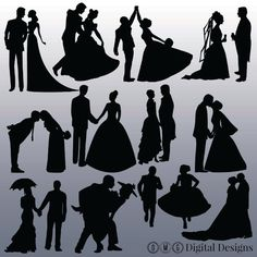12 Bride and Groom Silhouette Digital Clipart by OMGDIGITALDESIGNS