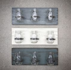Wood Mason Jar Holder - 20x7.5 Wood Toothbrush Jar Holder Plank - Custom Bathroom Mason Jar Storage - Customizable Wooden Jar Organizer Sign ~ Sold INDIVIDUALLY in this listing. Price breaks available for multiples so please send us a message prior to checking out! ~ Please