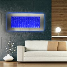 "Horizontal Wall Mount LED Bubble Wall Indoor Fountain Water Feature 45"" 500WM"