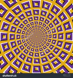 Optical motion illusion background. Purple squares fly apart circularly from the center on yellow background.