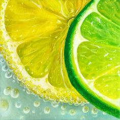 Lemon, lime slices Original Hand Painted Canvas Art Lemon drink Hyperrealism Still Life Food Fruits Oil Painting Kitchen Wall Decor Gift