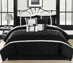 Vermont Black & White 12 Piece Embroidered Comforter Bed In A Bag Sheet Set