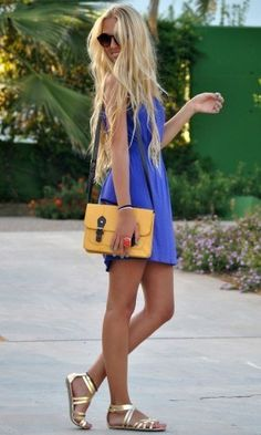 royal blue dress, yellow clutch, gold flats