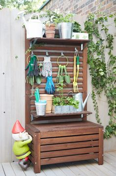 "Idea for organizing gardening tools. ""Adding the IKEA Äpplarö wall panel with adjustable hooks and shelving can organize all your gardening accessories, pots and plants in any way you want."" - in white for walk robe - same concept Armoire Makeover, Wall Bench, Small Outdoor Spaces, Raised Garden Beds, Garden Benches, Raised Bed, Balcony Garden, Home And Deco, Garden Accessories"