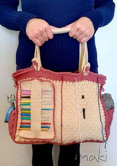 Crochet pattern - My Crochet Bag every crocheter must have! Permission to sell finished items. Pattern No. 240 This bag is absolutely fabulous! You will love every part of it! First it is huge! :) If you like to work on blankets you can put in all the yarn you need. It has two pockets on