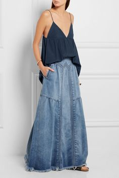 Chloé | Frayed denim maxi skirt | NET-A-PORTER.COM