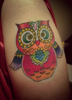 My Sugar skull themed owl tattoo. Start of a half sleeve.