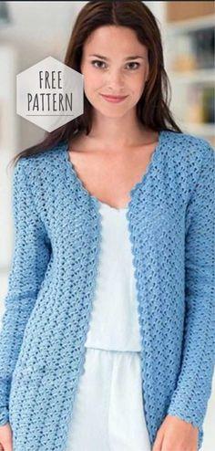 Free crochet diagram for cardigan. Cardigan Au Crochet, Crochet Jacket Pattern, Gilet Crochet, Crochet Coat, Crochet Shirt, Crochet Clothes, Crochet Cardigan Pattern Free Women, Blue Cardigan, Crochet Lace