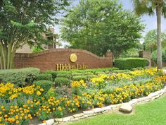 Beautiful flower garden surrounding the Hidden Lake entrance.