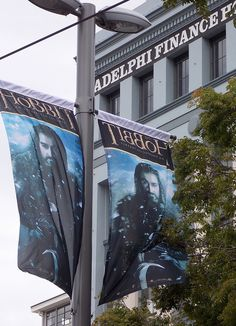 Thorin (Richard Armitage) lamppost banners, Courtenay Place, Wellington | by prwelly