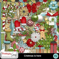 Christmas Is Here Christmas Holidays, Merry Christmas, Xmas Lights, Decorative Borders, Digital Scrapbook Paper, Flag Banners, Big Bows, Paint Shop, Photoshop Elements