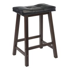 Have to have it. Winsome 24 in. Cushion Saddle Seat Counter Stool with Black Faux Leather $37.98