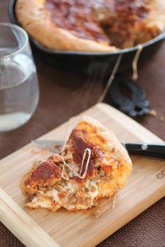 Deep Dish Skillet Pizza. Man food