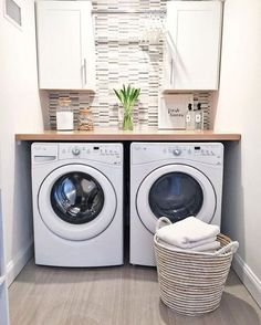 Laundry Room Closet Makeover Small Spaces - In a lot of cases, the laundry room is a smaller space because it only needs to be able to fit a washing machine, a drying machine, and a person. #laundryroomcloset #laundryroomclosetmakeover #laundryroomclosetmakeoversmallspaces