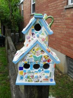 Whimsical Decorative Birdhouses by agardenofmosaics on Etsy, $15.00