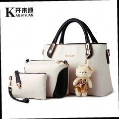 Fashion Splice PU Leather 3 Bags Set With Lovely Bear Toy Women Purse  Handbag Tote Bags Designer Clutch Famous Brand 6 Colors f05ea03009