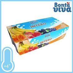 Bontà Viva, Yogurt Intero. Tutti accontentati con la deliziosa frutta. Gusti Banana, Fragola, Albicocca e Frutti di Bosco. Conf. 8xgr.125 a solo € 1,89!!!