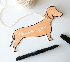 Dachshund Thank You Card – Kori Clark  This cute little thank you note is LONG on fun! For the pup lover in your life, simply print and cut this dachshund design and write your message on the back! It will fit perfectly into a A7 envelope, or tie a little ribbon around the pups neck and tie onto a gift!  DIY, created with a Cricut Explore, creative cards, crafting, crafts