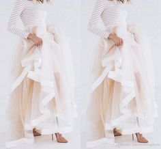 Custom made 6 Layers White and Pink Long Tulle Skirt Women Maxi Tutu Wedding Bridal Prom Ball Gown Drop Shipping, $55.27 from mumufashion on m.dhgate.com | DHgate Mobile