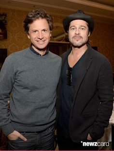 Director Bennett Miller (L) and producer/actor Brad Pitt attend the 15th Annual AFI Awards Luncheon at Four Seasons Hotel Los Angeles at Beverly Hills on January 9, 2015 in Beverly Hills, California.  (Photo by Michael Kovac/Getty Images for AFI)