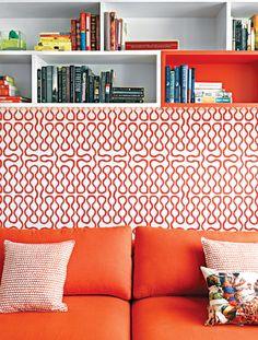 orange and red reading area - Ghislaine Viñas Interior Design
