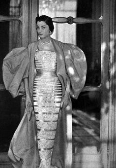 Glamorous gown and coat from Vogue Paris, 1950.