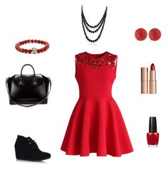 """""""Red outfit"""" by aja1131 ❤ liked on Polyvore featuring Chicwish, Charlotte Tilbury, OPI, TOMS, Givenchy, Panacea and Bling Jewelry"""